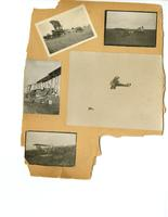 Photo album sheet featuring airplanes, cities and soldiers   : Back