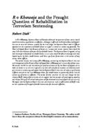 R v Khawaja and the Fraught Question of Rehabilitation in Terrorism Sentencing