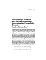 Canada's Refugee Health Law and Policy from a Comparative, Constitutional, and Human Rights Perspective