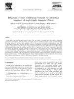 Efficiency of small constructed wetlands for subsurface treatment of single family domestic effluent